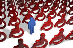 Man in a crowd of wheelchair Stock Image