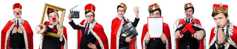 The man with crown isolated on white Royalty Free Stock Photography