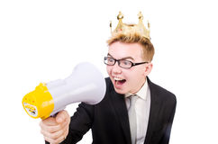 Man with crown and megaphone Stock Images