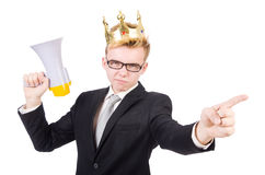 Man with crown and megaphone Royalty Free Stock Images