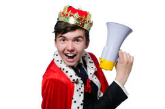 Man with crown and megaphone Royalty Free Stock Photos