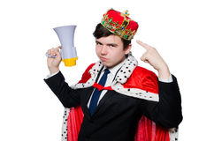 Man with crown and megaphone Royalty Free Stock Image