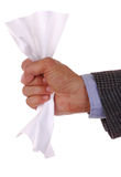 Man with Crumpled Paper. Man's Hand Holding a Crumpled Sheet of Blank Paper isolated over white royalty free stock photography