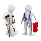 Man on crutches and doctor. 3D image Royalty Free Stock Image