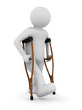 Man on crutches on white background. Isolated 3D image Royalty Free Stock Image