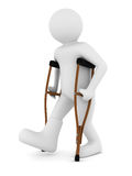 Man on crutches on white background. 3D image Stock Photo