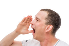 Man crying loudly, portrait on a white Royalty Free Stock Images