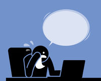 Man crying, weeping, and sobbing with a handkerchief while using the computer. Royalty Free Stock Photo