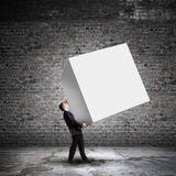 Man with cube Stock Photography