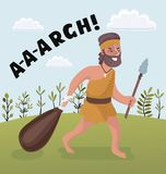 Man With A Cudgel Cartoon Illustration Of First Homo Sapiens Troglodyte In Animal Pelt Living In Stone Age. Vector cartoon illustration of Stone age primitive Royalty Free Stock Photo
