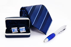 Man cuff links in box pen and tie  isolated Royalty Free Stock Images