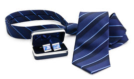Man cuff links in box and tie  isolated Royalty Free Stock Images