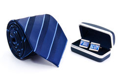 Man cuff links in box and tie isolated. On white royalty free stock images