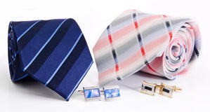 Man cuff links and tie. On white royalty free stock photos