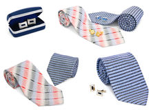 Man cuff links and tie collection Stock Photo
