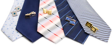 Man cuff links and tie  isolated on white Stock Photos
