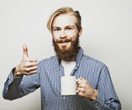 Man with a cup of coffee Stock Photography