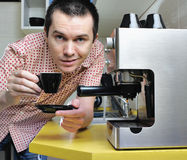 Man with cup of esresso. Stock Photography
