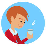 Man with cup in his hand drinking hot coffee. Vector illustration icon Royalty Free Stock Photos