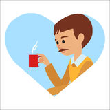 Man with cup in his hand drinking hot coffee. Vector illustration icon Royalty Free Stock Photography