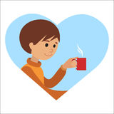 Man with cup in his hand drinking hot coffee. Vector illustration icon Royalty Free Stock Images