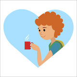 Man with cup in his hand drinking hot coffee. Vector illustration icon Stock Photography
