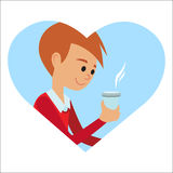 Man with cup in his hand drinking hot coffee. Vector illustration icon Royalty Free Stock Photo