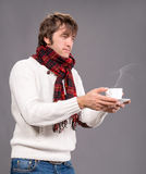 Man with cup of hot  coffee or tea Stock Photos
