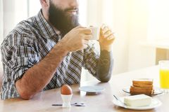 man cup of morning coffee stock image