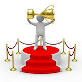 Man with cup on podium. Isolated 3D image Royalty Free Stock Image