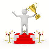 Man with cup on podium. 3D image Royalty Free Stock Image
