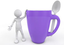 Man, cup and spoon Royalty Free Stock Photo