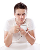Man with cup of tea Stock Photos
