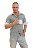 Man with cup of tea. Royalty Free Stock Image