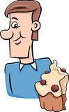 Man with cupcake cartoon Royalty Free Stock Photography