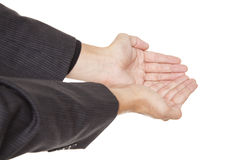 Man - cupped hands Royalty Free Stock Image