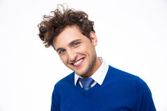 Man with curly hair looking at the camera Royalty Free Stock Photo