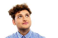 Man with curly hair looking up Royalty Free Stock Images
