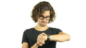 Man with Curly Hairs and Glasses Using Smartwatch. +++ , creative designer , curly hair man  , businessman stock video footage