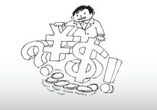 Man with currency. Illustration of man with currency cartoon Stock Image