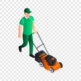 Man cut grass icon, isometric style royalty free illustration