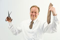 Man with cut tie Royalty Free Stock Photos