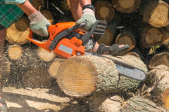 Man cut wood for fuel Royalty Free Stock Image