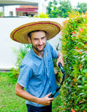 Man cuts bushes. With clippers near the house Stock Photography
