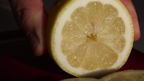 The man cuts the lemon rings and puts the knife aside. Lemon fresh and juicy. Shot close up. Visible fleshy lemon pulp, flowing ju. Ice stock video footage