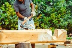A man cuts a log Royalty Free Stock Photos
