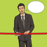 Man cuts red ribbon pop art style vector Royalty Free Stock Photography