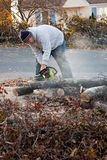 Man Cuts Tree Limbs with a Chainsaw. Man cutting tree limbs with a chainsaw that have fallen from storm damage.  A late fall snow storm in the month of October Stock Images