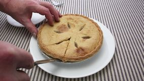Man cutting apple pie close view stock footage