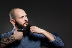 Man Cutting Beard against a grey background Royalty Free Stock Photo